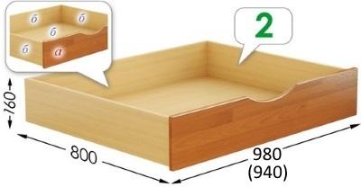 Выдвижной ящик для кровати Нота / Дуэт с коробом из ДСП.
