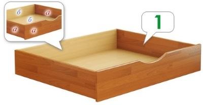 Выдвижной ящик для кровати Нота / Дуэт с деревянными боковинами короба.